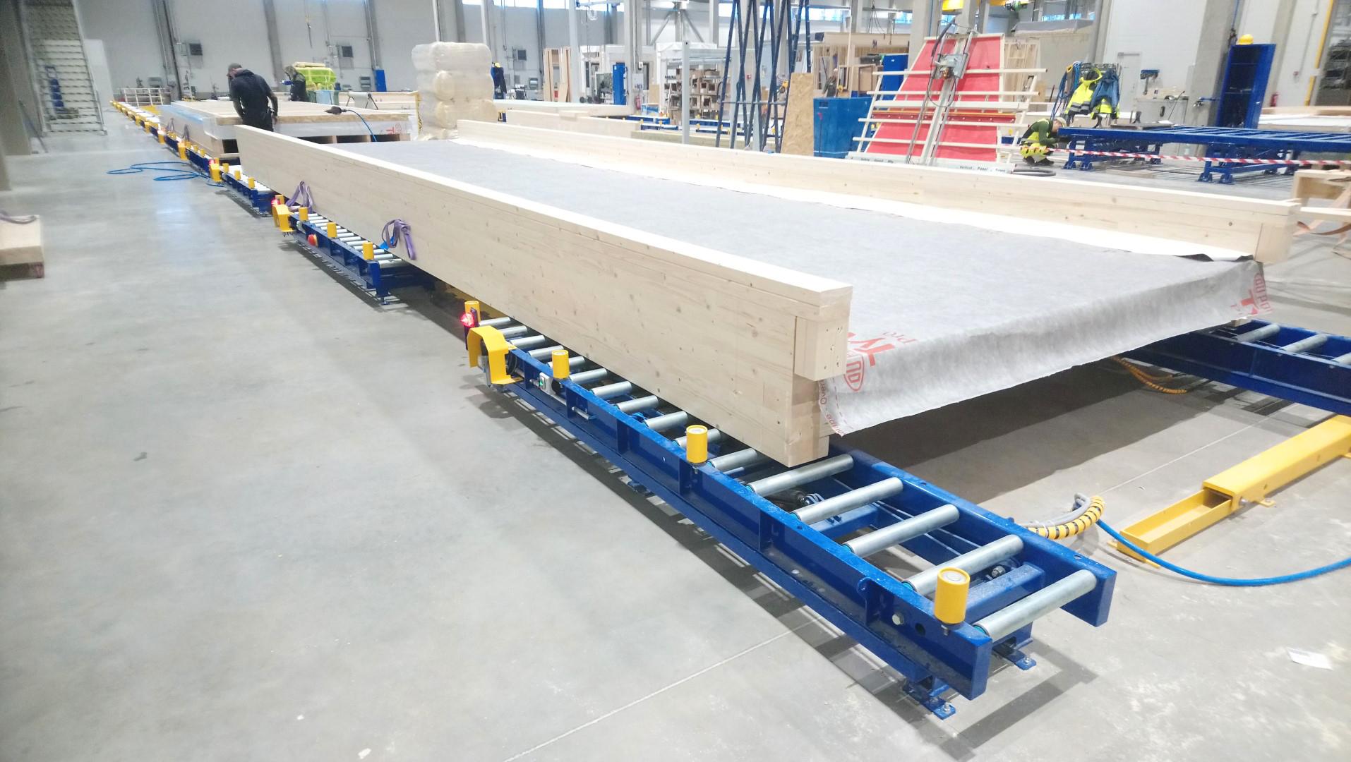 Modular houses assembly line rullkonveier